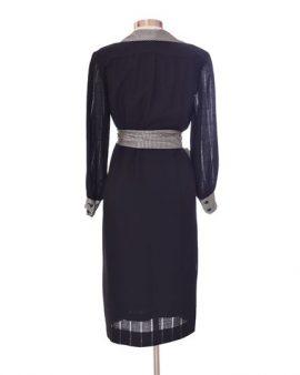 Celine Vintage Black Midi Long Sleeves Wool Dress Size 10