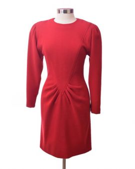 Oscar De La Renta  Red Long Sleeves Dress Size 10