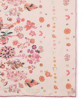 Salvatore Ferragamo Floral Print Silk Oblong Scarf