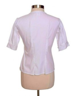 Oscar De La Renta White Short Sleeves Summer Top Size 4