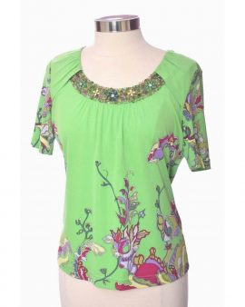 Rena Lange Vintage Green Silk Floral  Short  Sleeves Top Size Large
