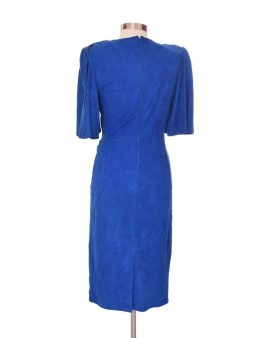 Erez Blue Leather 3/4 Sleeves Dress Size 10