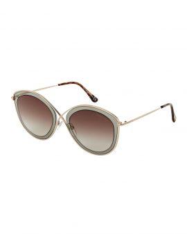Tom Ford TF604 Sascha Gold-Tone & Grey Cat Eye Sunglasses