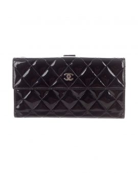 Chanel Black Patent Quilted Wallet