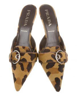 Prada Pointed-Toe Ponyhair Mules Size 40 US 10