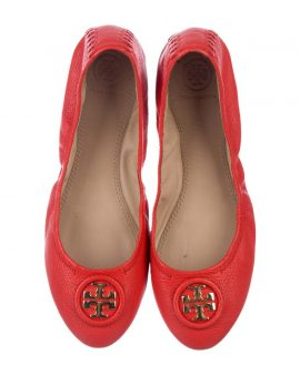 Tory Burch Red Leather Logo Ballet Flats Size 7