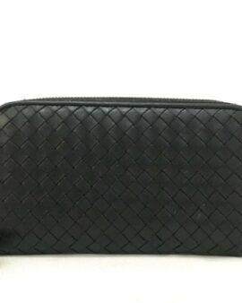 Intrecciato Lambskin Black Zippy Wallet