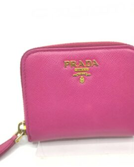 Authentic Prada Pink Saffiano Leather Coin Wallet