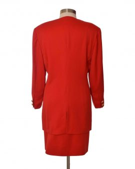 Escada Couture Red Skirt Suit Size 42 US 12