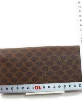 Authentic CELINE Macadam Pattern Brown PVC Long Bifold Wallet Purse1406649