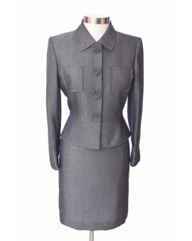 Vintage Tahari Arthur S. Levine  Gray Skirt Suit Size 8 Petite