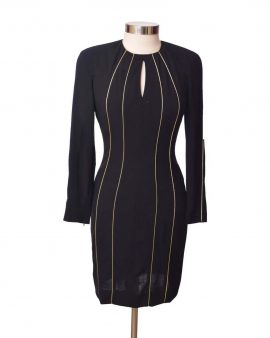 Escada Black Cocktail Dress Knee Length Size Small