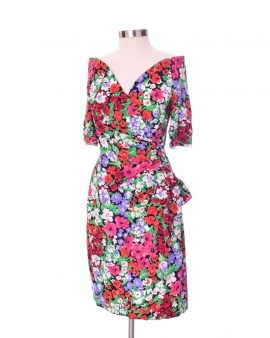Scacsi of Shoulder Floral Vintage Dress Size 12