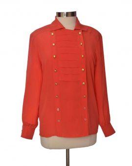Escada Orange Long Sleeves Silk Top Size 36 US Medium