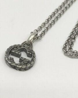 Authentic Gucci  Necklace Pendant Interlocking G Logo Silver 925