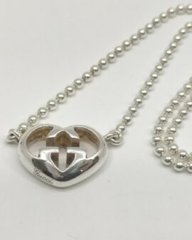 Authentic Gucci Sterling Sliver GG Heart Pendant Necklace 925 1709884