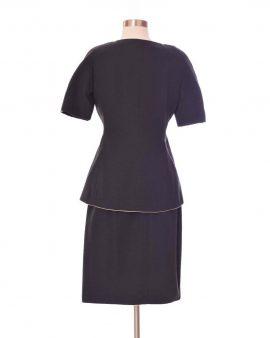 Ann Lawrence Black Short Sleeves Vintage Skirt Suit Size 8
