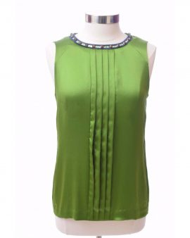 Tory Burch Green Silk Sleeveless Summer Top Size 6