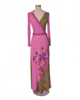 Veneziano Vintage Pink Silk Floral Long Sleeves Maxi Dress Size 10