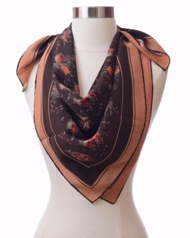 GUCCI Brown Silk Sparrow Bird Scarf
