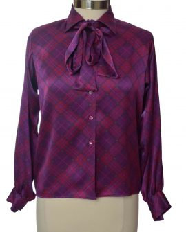Saint Laurent Rive Gauche Purple Long Sleeves Neck Tie  Summer Top